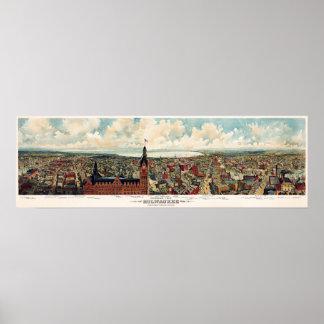 Vista panorámica de Milwaukee Wisconsin en 1898 Póster