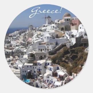 Vista panorámica de Oia, Grecia Pegatina Redonda