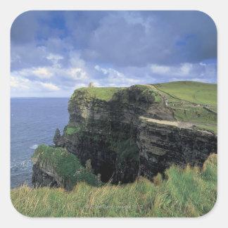 vista panorámica de un acantilado por la playa calcomania cuadradas personalizada