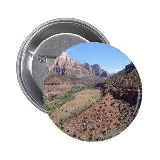 Vista panorámica del barranco de Zion del vigilant Pin Redondo De 2 Pulgadas