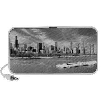 Vista panorámica del horizonte de Chicago en invie Portátil Altavoces
