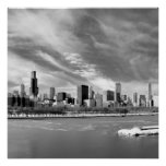 Vista panorámica del horizonte de Chicago en invie Póster