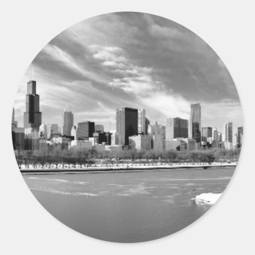 Vista panorámica del horizonte de Chicago en Pegatina Redonda
