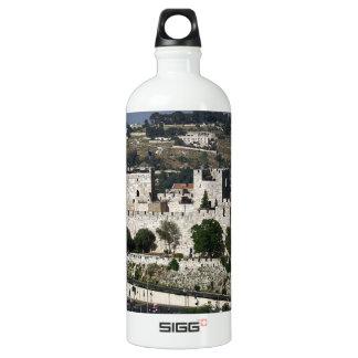 Vista para a Torre de Davi e o Domo da Rocha Aluminum Water Bottle