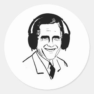 Vista para arriba Romney Headphones.png Pegatina Redonda