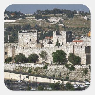 Vista para un Torre de Davi e o Domo DA Rocha Pegatina Cuadrada