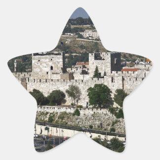 Vista para un Torre de Davi e o Domo DA Rocha Pegatina En Forma De Estrella
