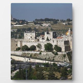 Vista para un Torre de Davi e o Domo DA Rocha Placa De Madera