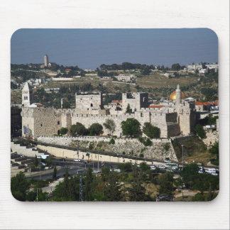 Vista para un Torre de Davi e o Domo DA Rocha Tapete De Ratones
