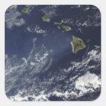 Vista por satélite de la niebla volcánica pegatinas cuadradas