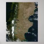 Vista por satélite de la región de la Patagonia Impresiones
