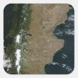 Vista por satélite de la región de la Patagonia Calcomanía Cuadrada