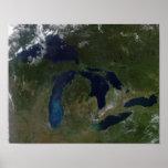 Vista por satélite de los Great Lakes Impresiones
