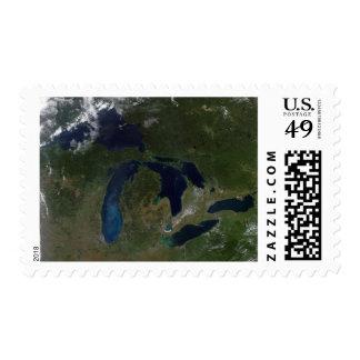 Vista por satélite de los Great Lakes Envio
