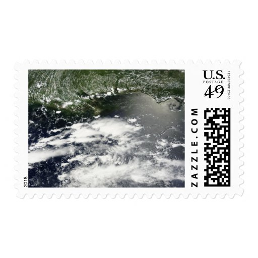 Vista por satélite del aceite que se escapa 2 sellos postales