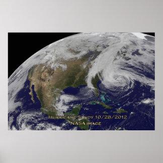 Vista por satélite del huracán Sandy Póster