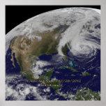 Vista por satélite del poster de Sandy del huracán
