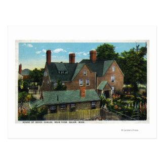 Vista posterior de la casa de siete aguilones tarjeta postal