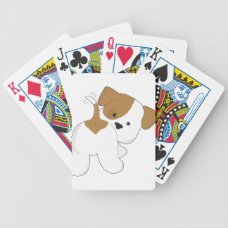 Vista posterior linda del perrito cartas de juego