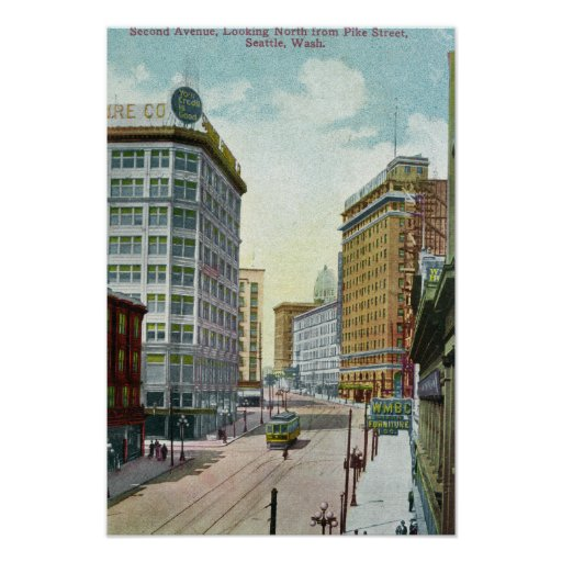 Vista septentrional de la segunda avenida de la ca póster