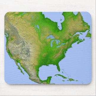 Vista topográfica de Norteamérica Tapete De Ratones