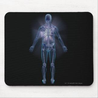 Vista trasera de un esqueleto humano alfombrillas de ratones