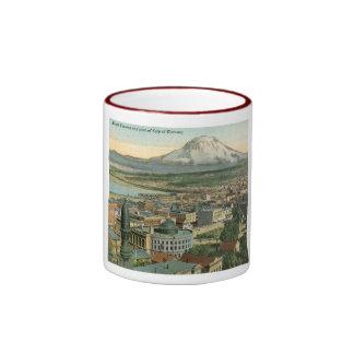 Vista vintage 1911 de Tacoma, Washington Taza De Dos Colores