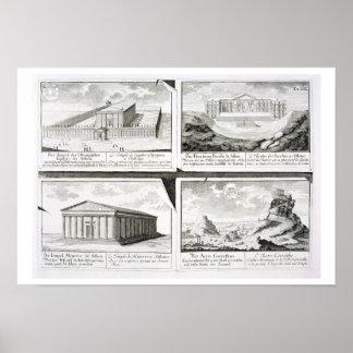 Vistas de cuatro edificios clásicos: El templo de  Poster