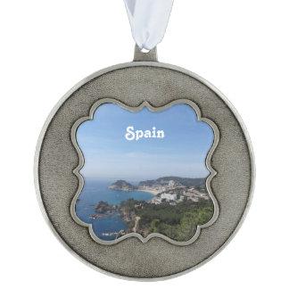 Vistas de la costa española adorno de navidad festoneado de peltre