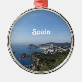 Vistas de la costa española adorno navideño redondo de metal