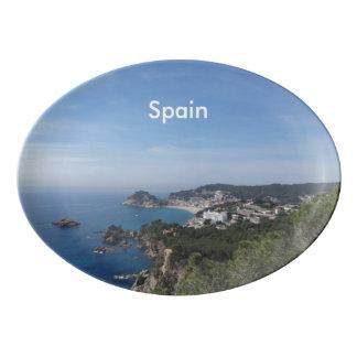 Vistas de la costa española plato de porcelana