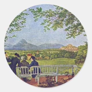 Vistas de Salzburg de Julio Schnorr Von Carolsfeld Pegatina Redonda