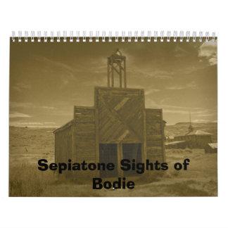 Vistas de Sepiatone de Bodie, CA Calendario De Pared