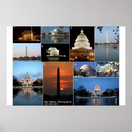 Vistas de Washington, del poster de DC, del día y