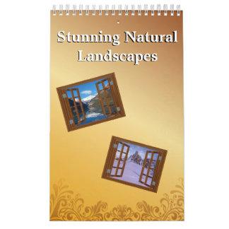 Vistas naturales imponentes del paisaje de la calendarios de pared