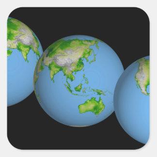 Vistas topográficas del mundo calcomanías cuadradas personalizadas