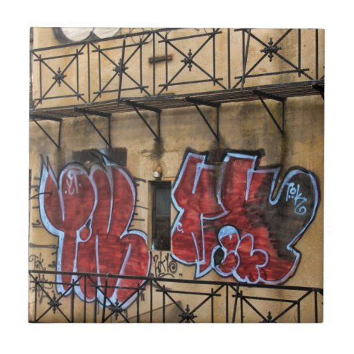 Visto de la alta línea: Pintada en un edificio Azulejos Cerámicos