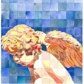 Visto por un ornamento del ángel fotoescultura vertical