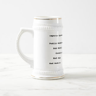Visual Basic Hello World Greeting Beer Stein