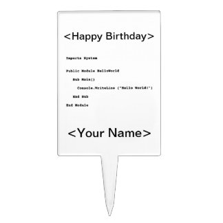 Visual Basic Hello World Greeting Cake Topper