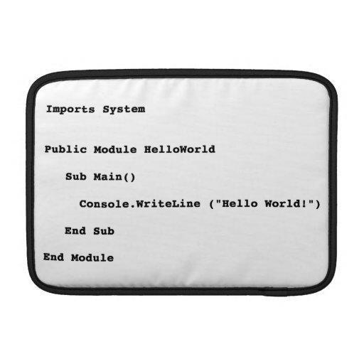 Visual Basic Hello World Greeting MacBook Air Sleeves
