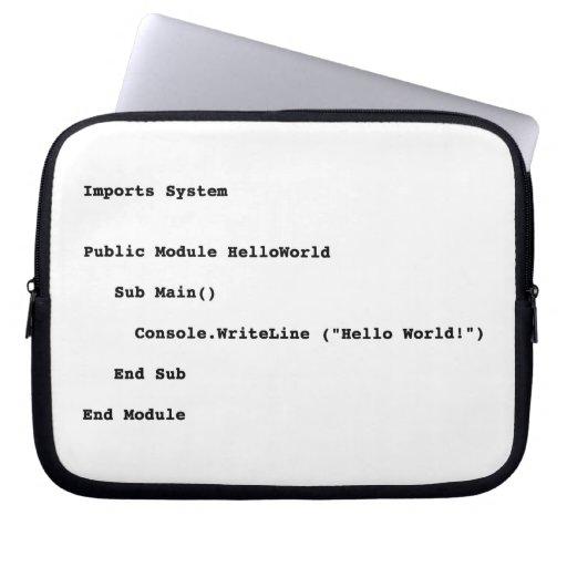 Visual Basic Hello World Greeting Computer Sleeve
