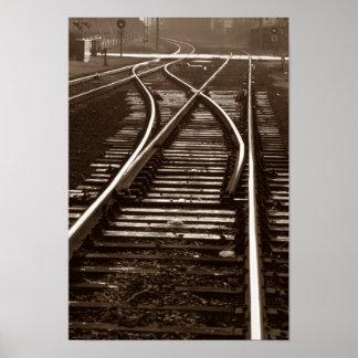 Visual Empty Railroad Train Tracks Long Distance Poster
