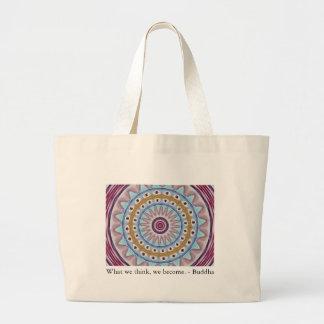 Visual Prayer Design with ZEN Buddhist Quote Jumbo Tote Bag