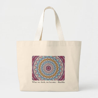 Visual Prayer Design with ZEN Buddhist Quote Large Tote Bag