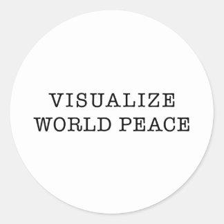 Visualice la paz de mundo etiquetas redondas