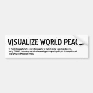 ¡VISUALICE LA PAZ DE MUNDO! (sí, a la derecha) Etiqueta De Parachoque