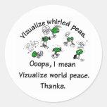 Visualize Whirled Peas Round Sticker