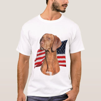 Viszla head with Flag shirt
