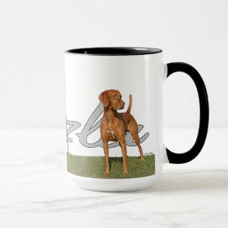 Viszla hunting dog with breed name MUG